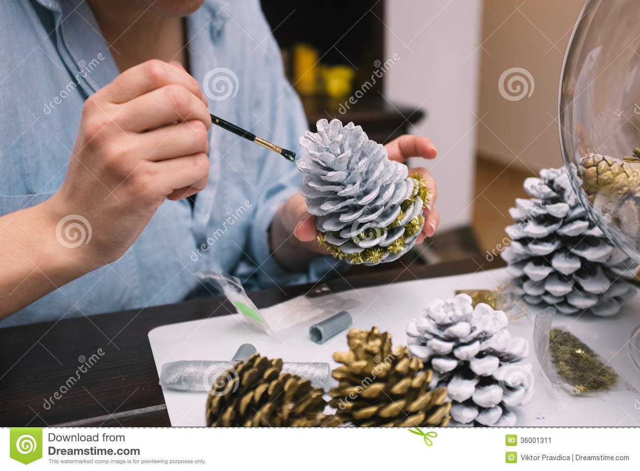 Making decorations for christmas stock image image 36001311 Homemade christmas decorations using pine cones