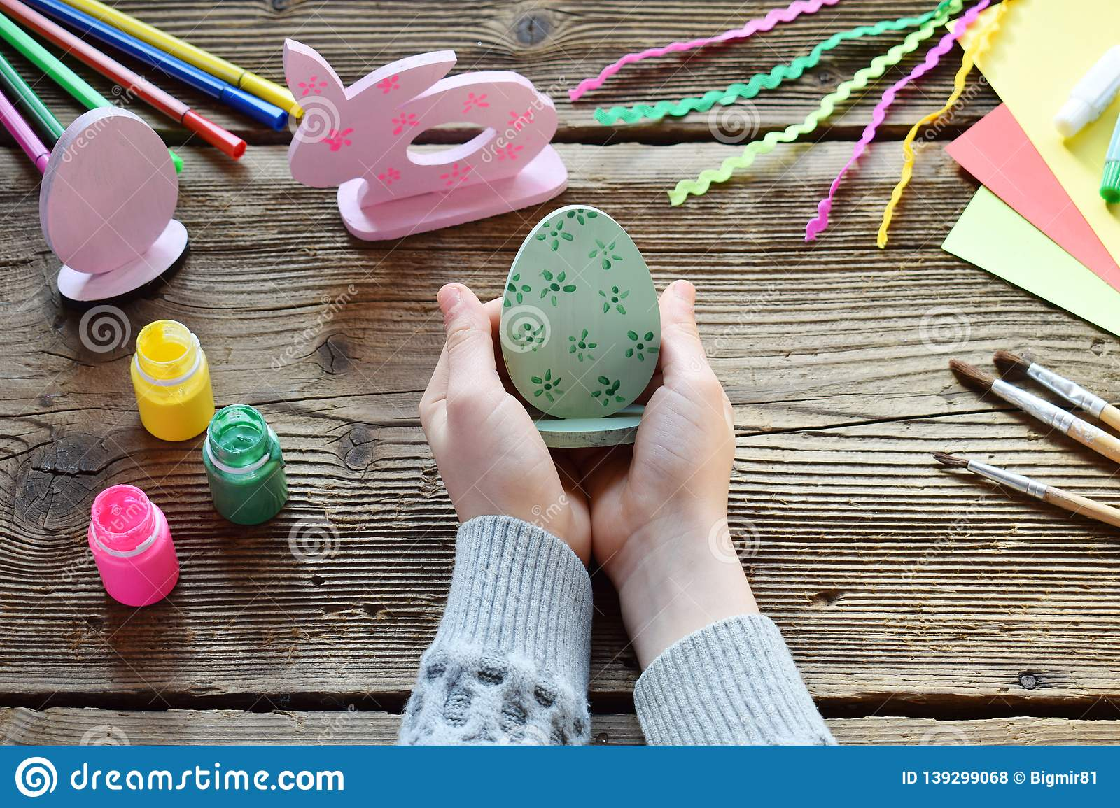 Making Easter Decoration Easter Eggs And Bunny Painting