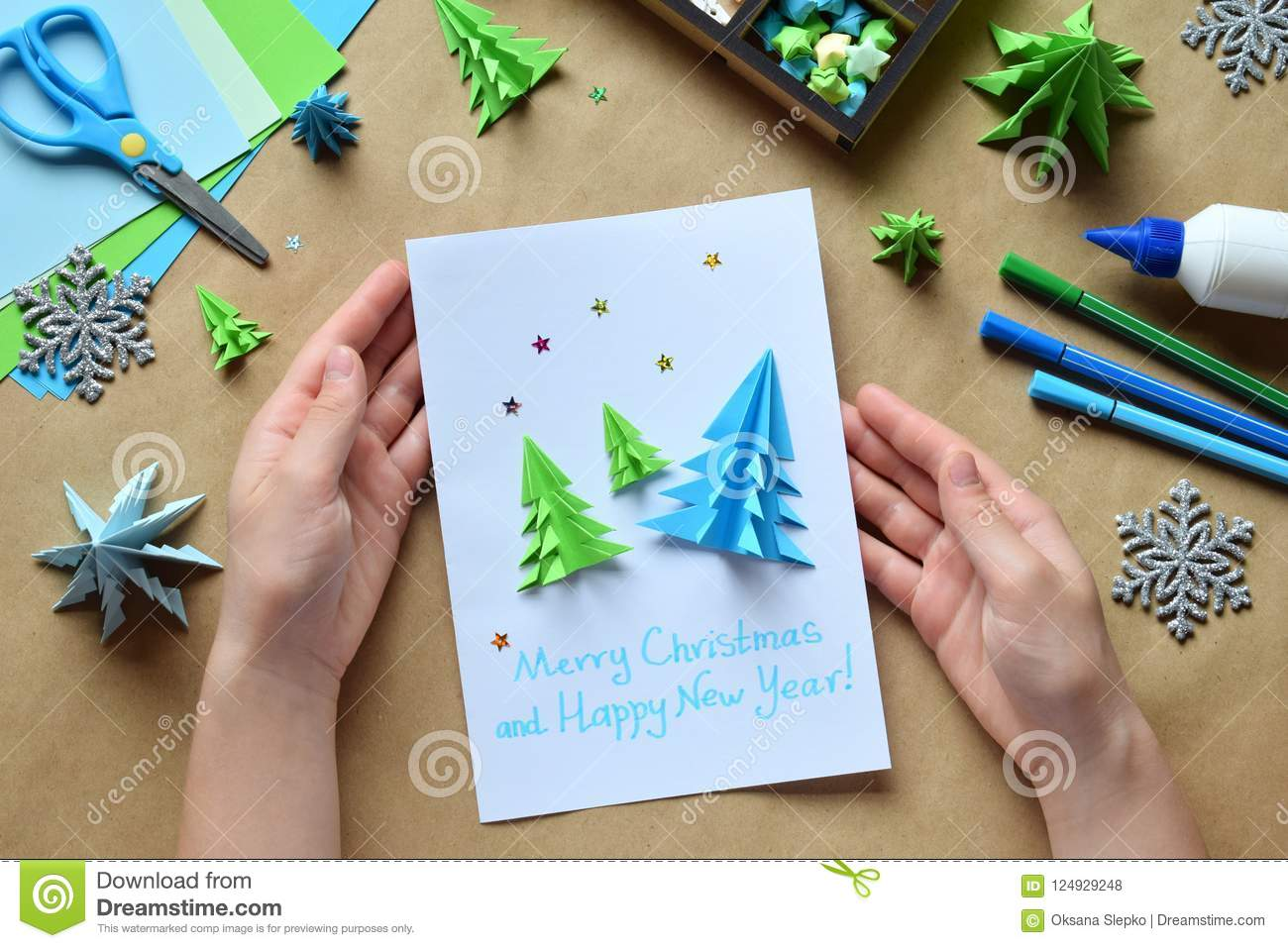 Making Greeting Card With Origami 3D Xmas Tree From Paper ...