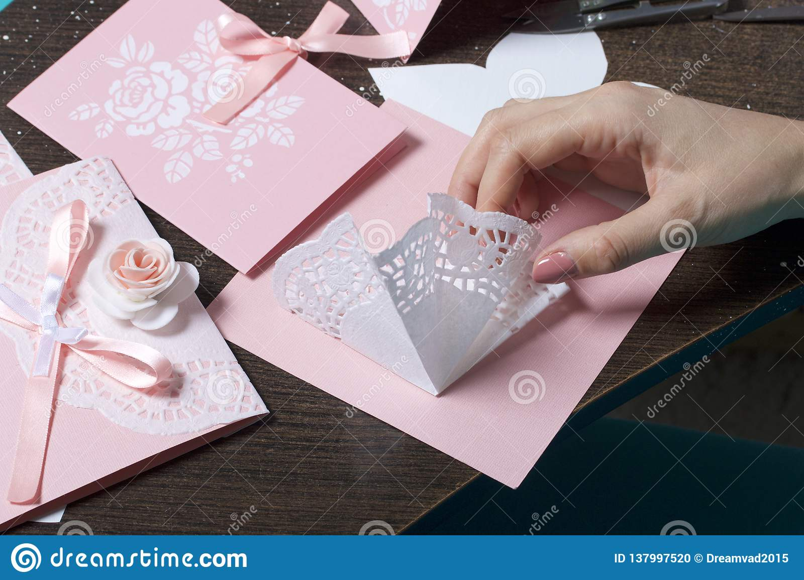 Surprising Making Greeting Cards From Paper Cardboard And Tape Stock Photo Funny Birthday Cards Online Inifofree Goldxyz
