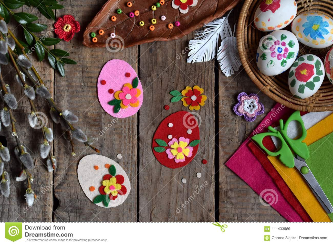 Making of handmade easter eggs from felt with your own hands. Children DIY concept. Making Easter decoration or greeting card