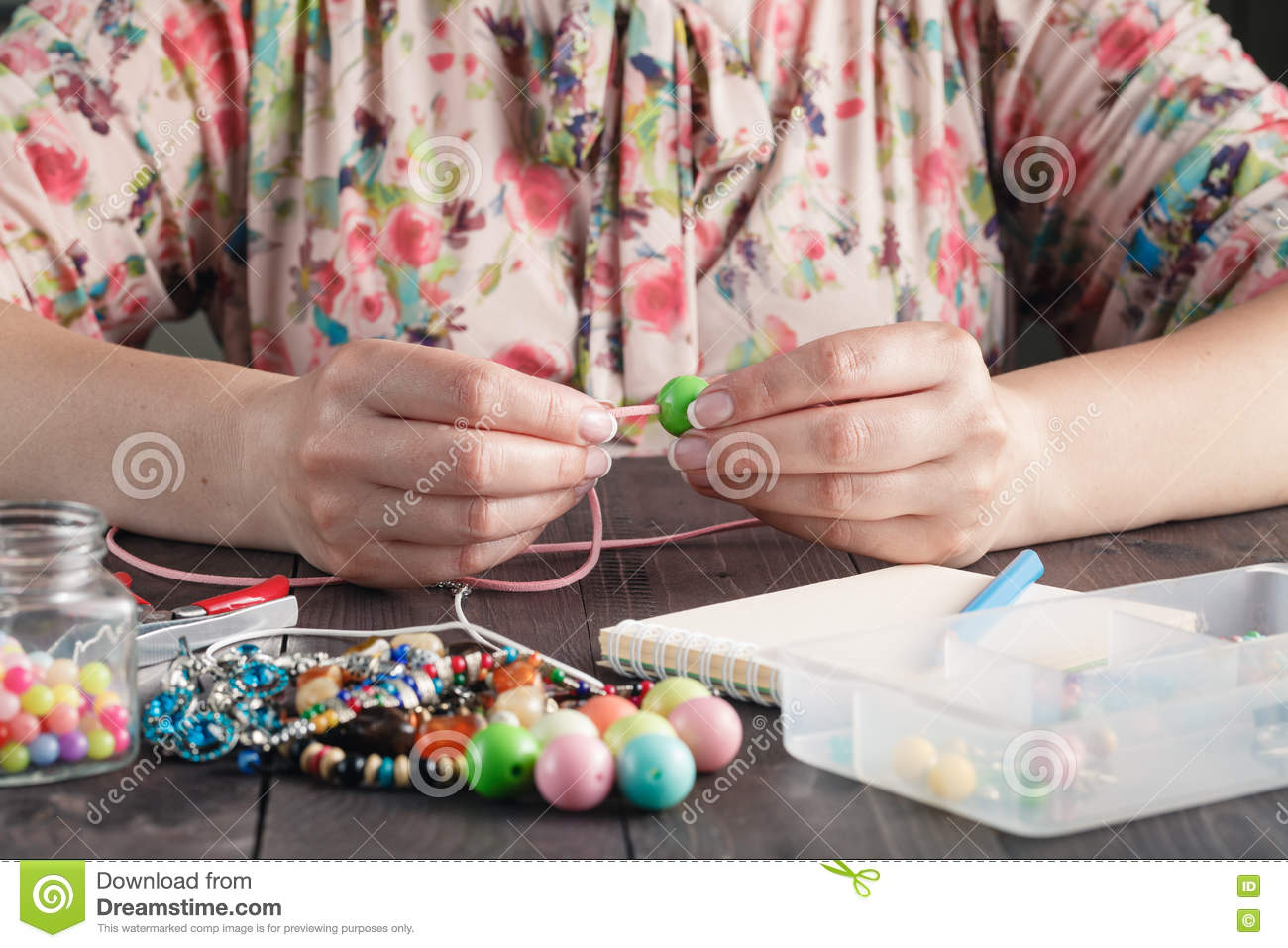 Making Of Handmade Jewellery Stock Photo Image Of Necklace