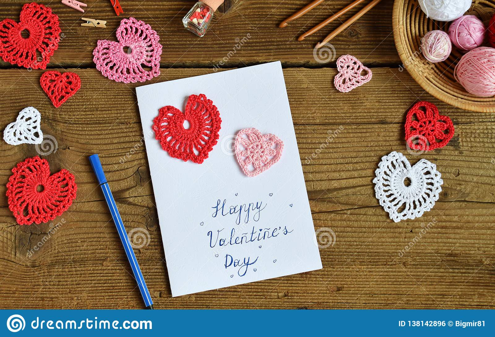 making of handmade valentine greeting card with crochet