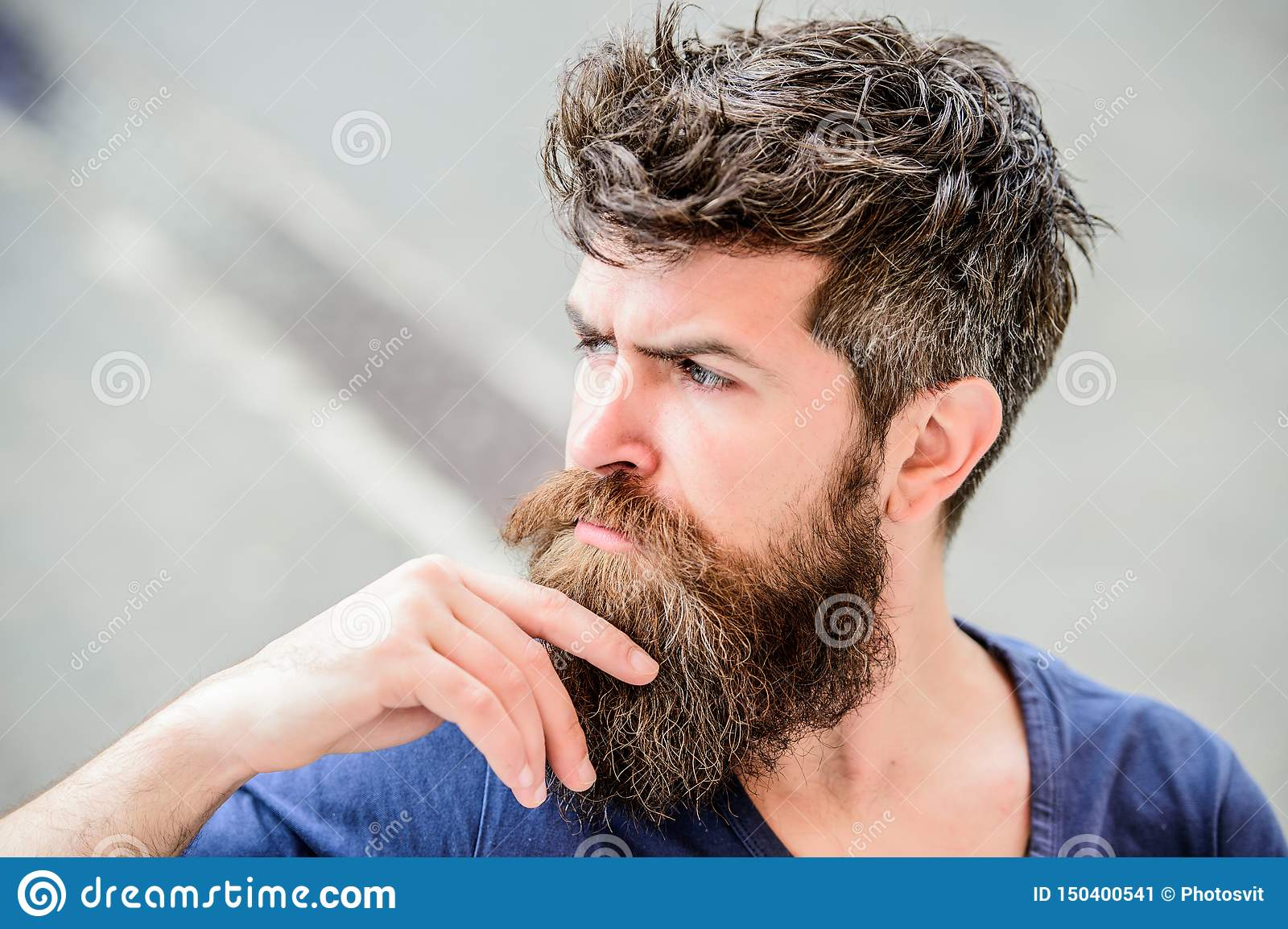 Making hard decision. Bearded man concentrated face. Thoughtful mood concept. Making important life choices. Man with