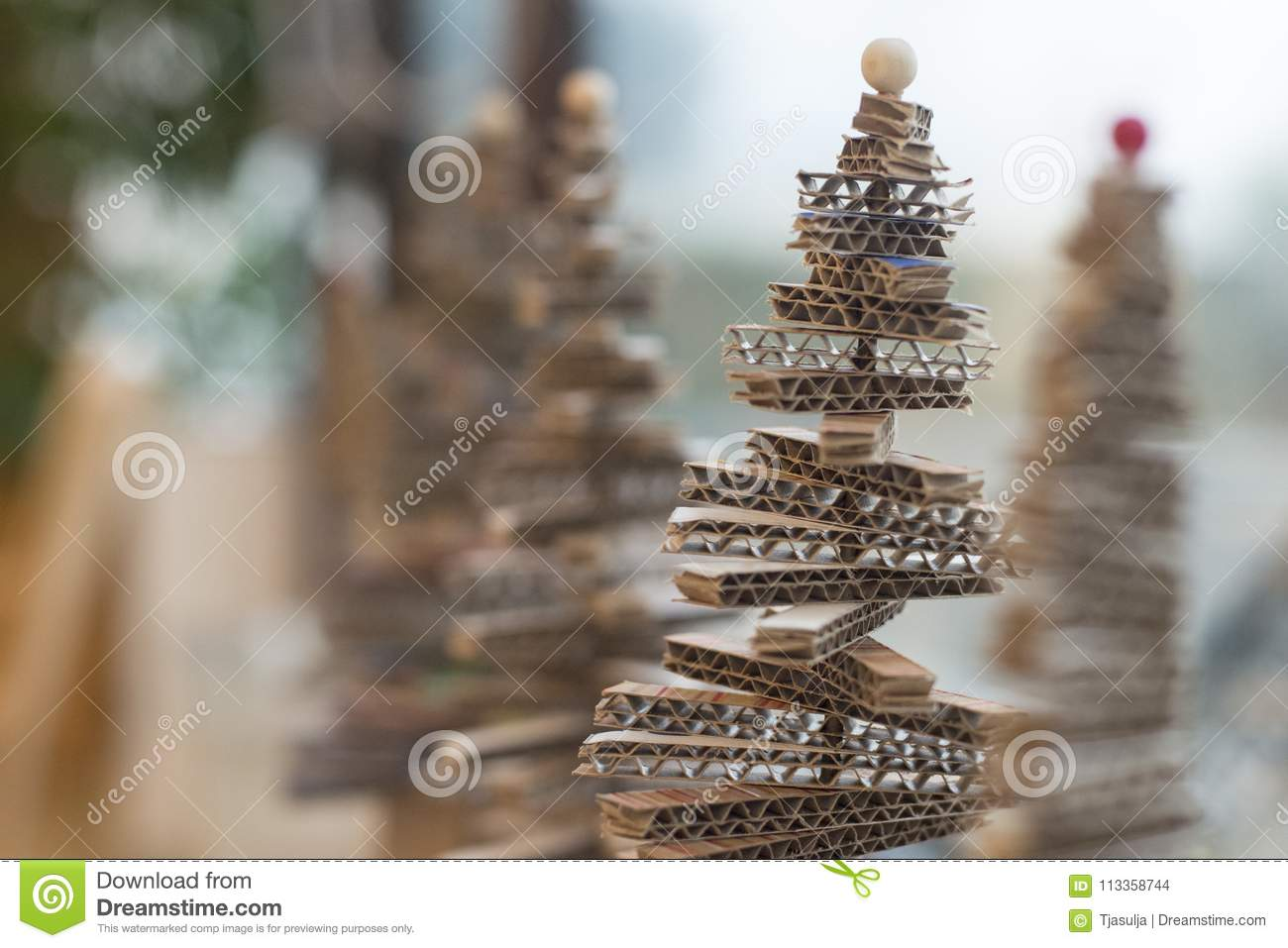 Making Little Christmas Tree Of Cardboard Stock Photo Image Of