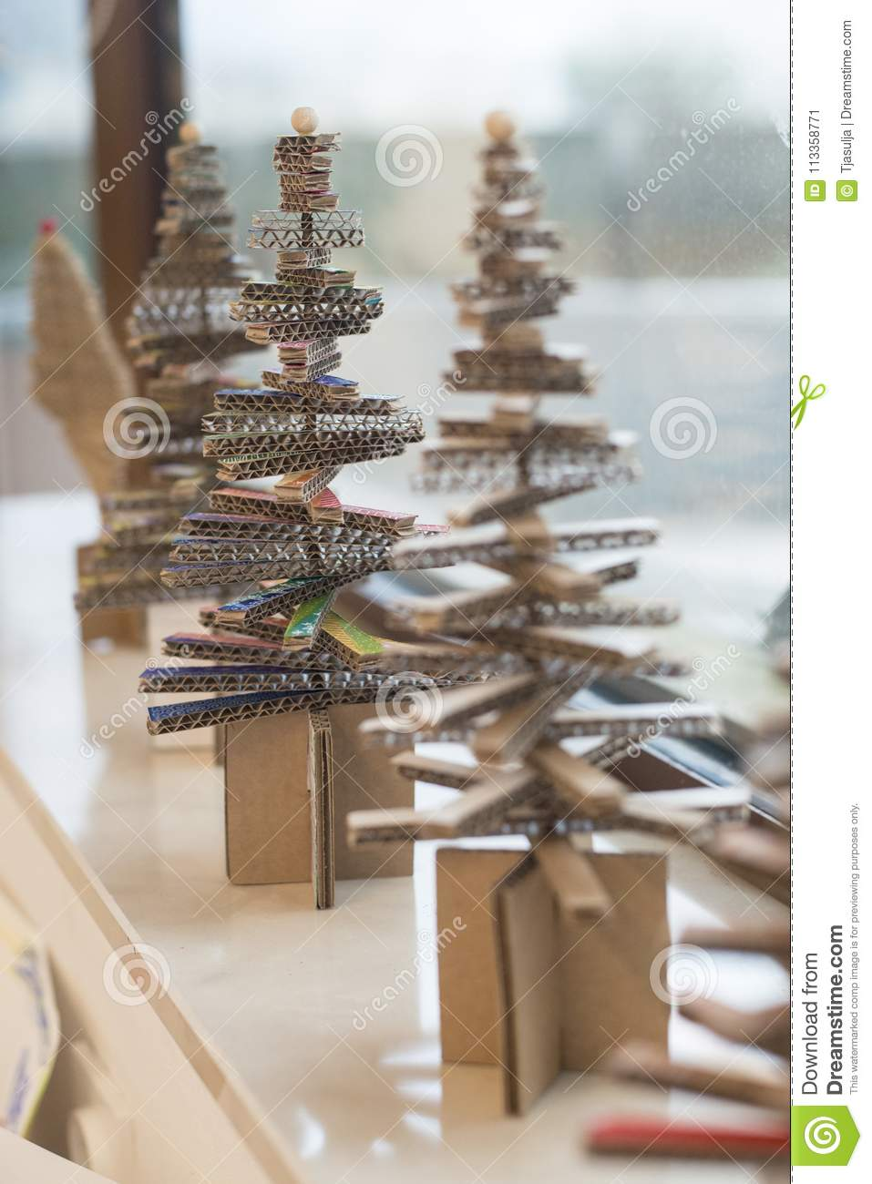 Making Little Christmas Tree Of Cardboard Stock Image Image Of