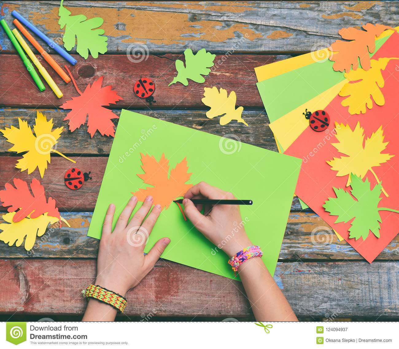 Making Maple Leaf From Colored Paper With Your Own Hands For