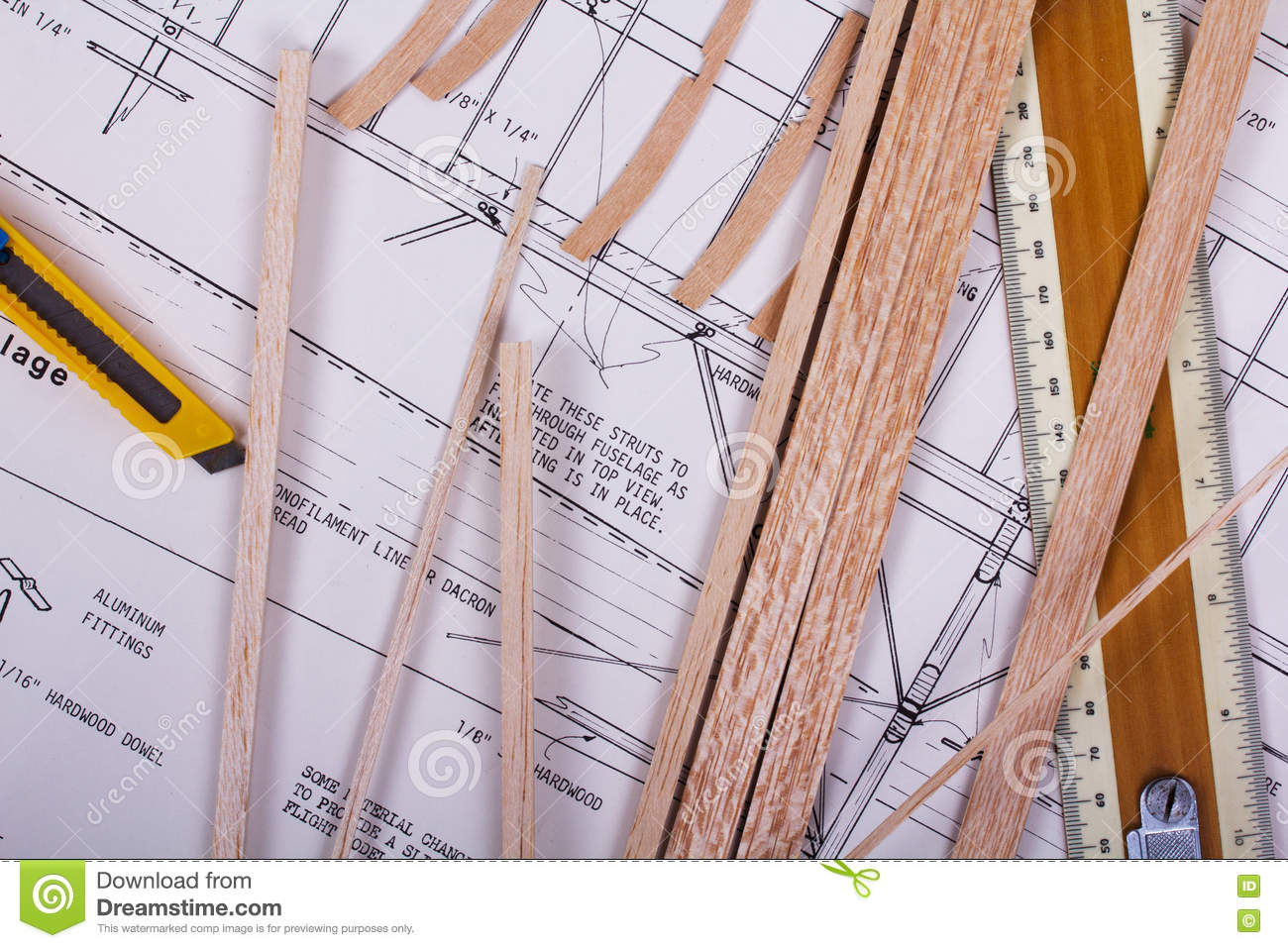 Making A Model Airplane From Balsa Wood Stock Photo - Image