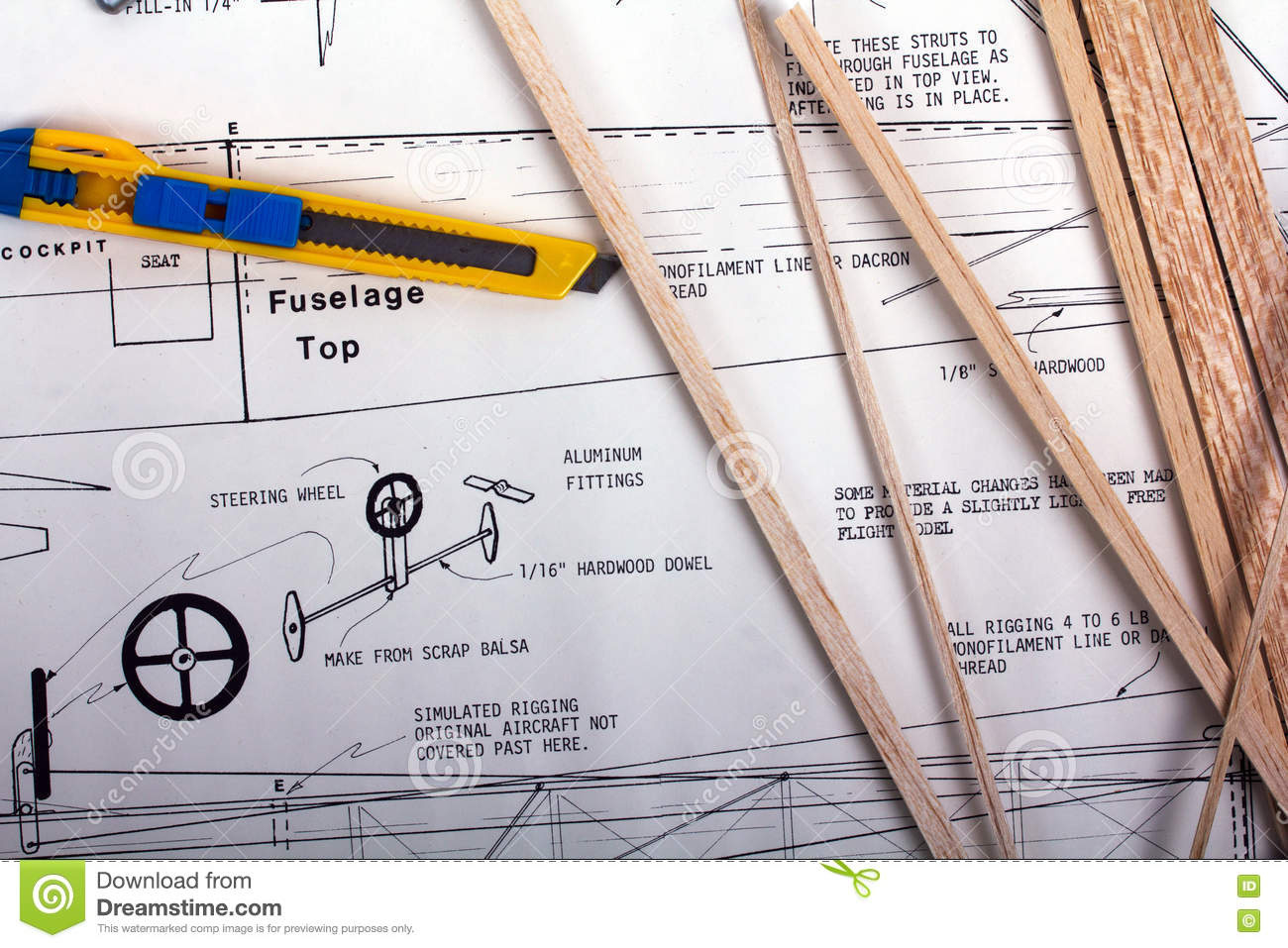 Making A Model Airplane From Balsa Wood Stock Image - Image
