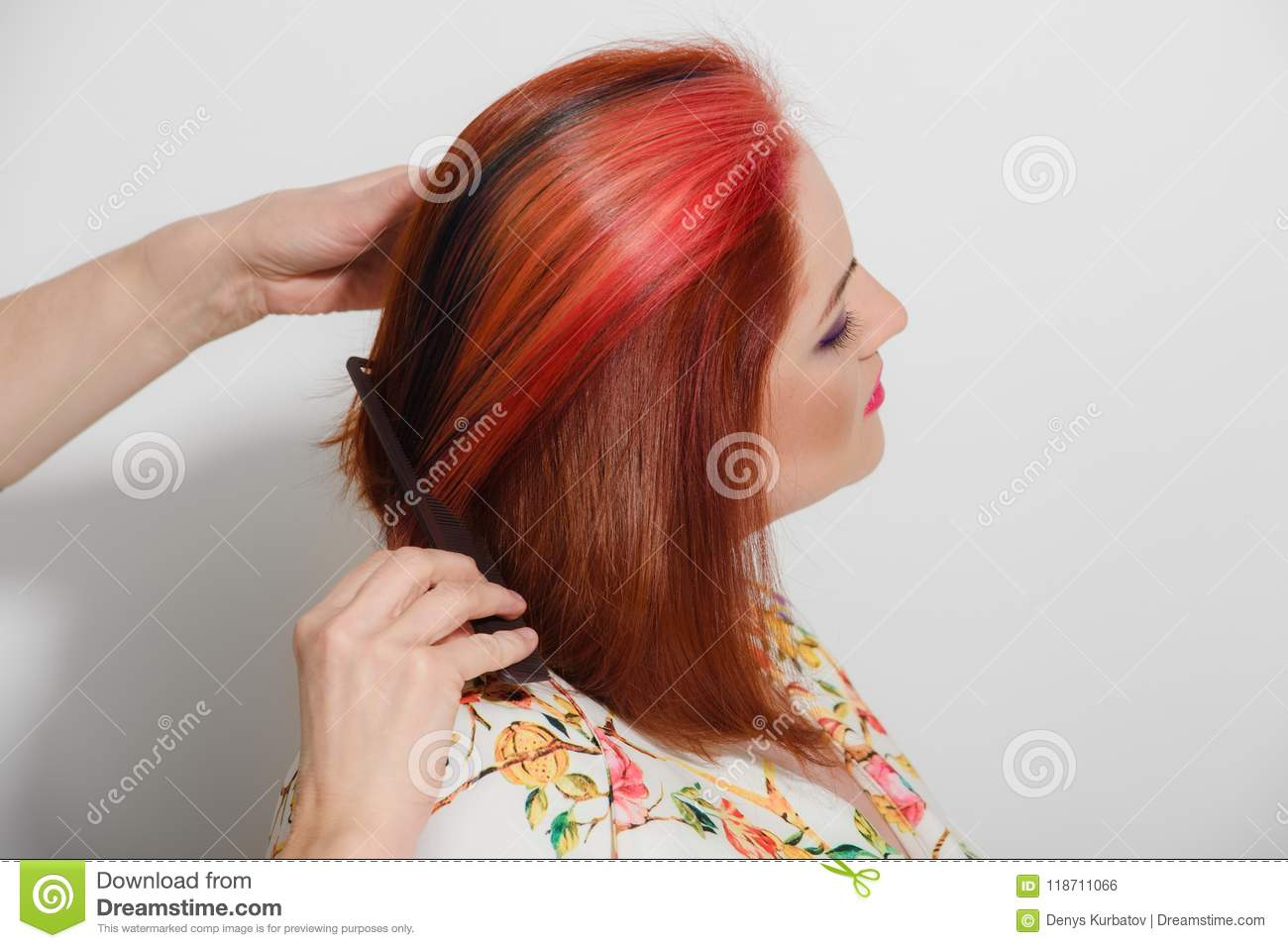 Making Modern Hairstyle Stock Photo Image Of Full Hairdress