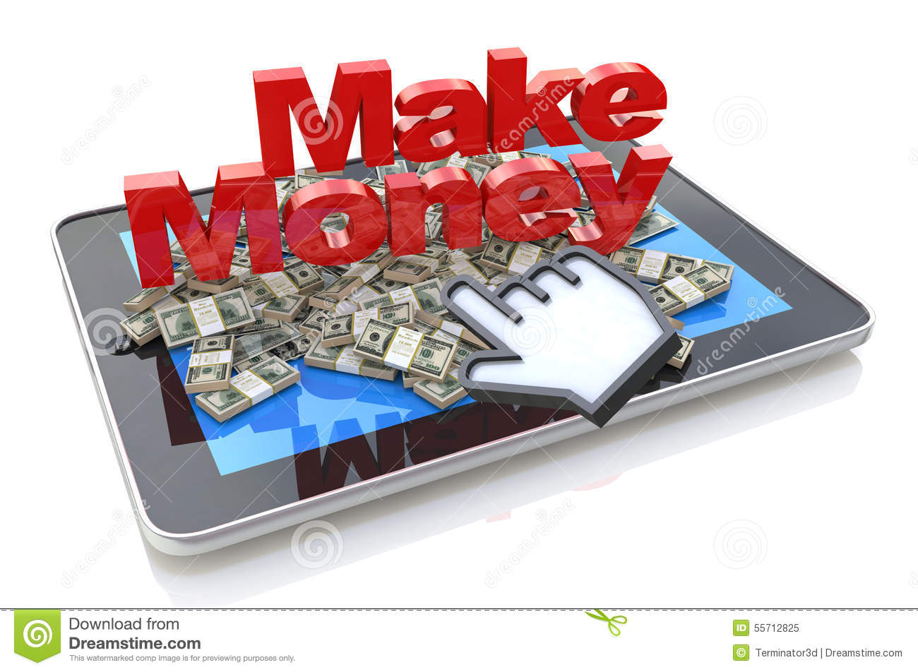 Making Money Online  Tablet Pcputer With 3d Text Make Money And Heap  Of Dollars