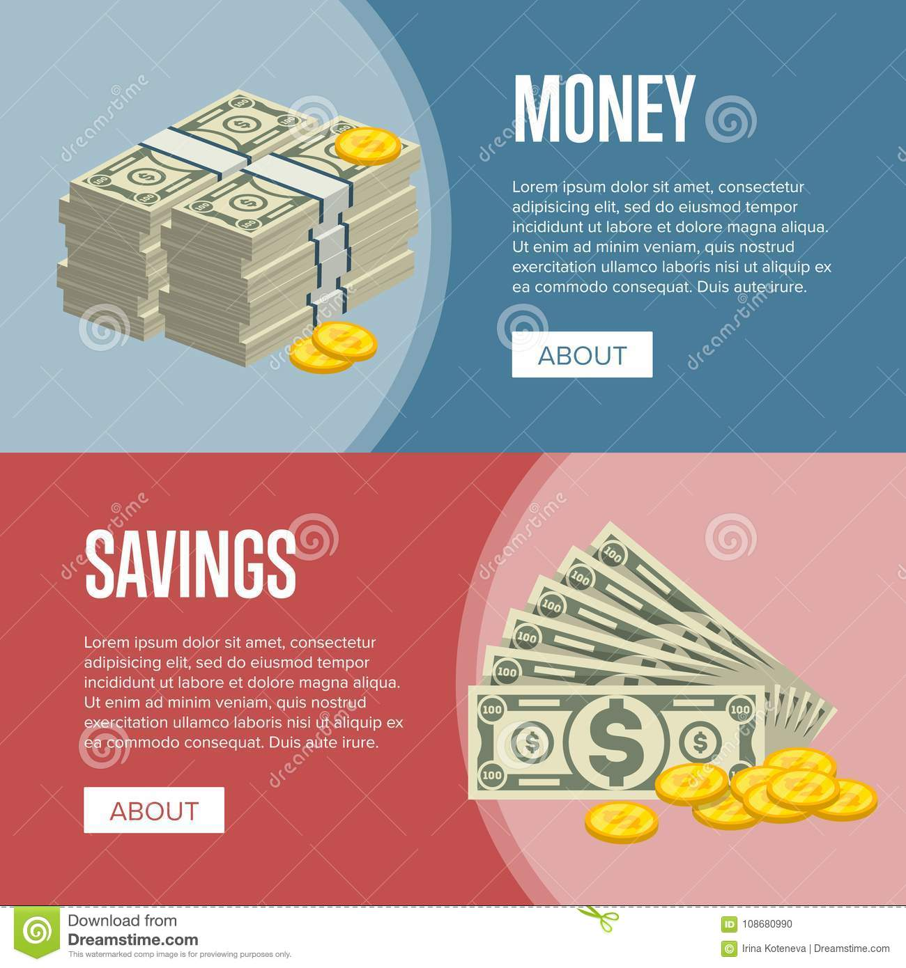 making money and savings flyers stock vector illustration of
