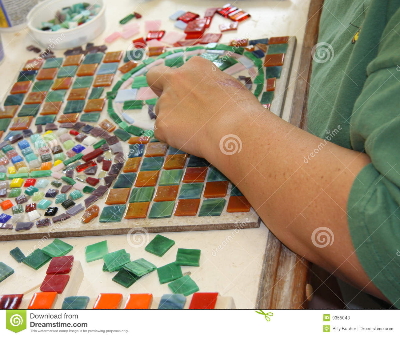 Making A Mosaic Stock Image Image Of Ceramic Amber 9355043