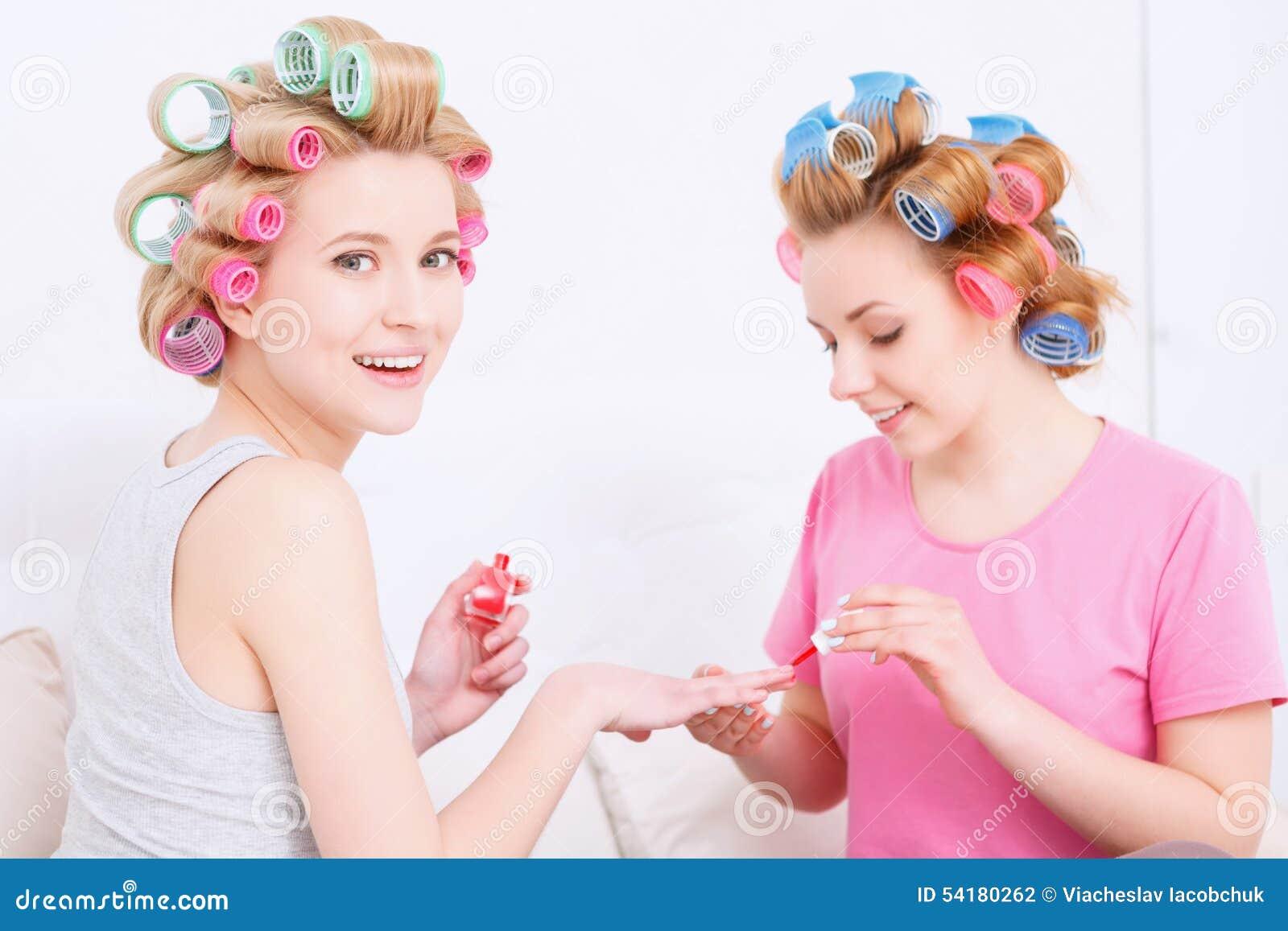 Making Nail Art At Pajama Party Stock Photo - Image of beauty, happy ...