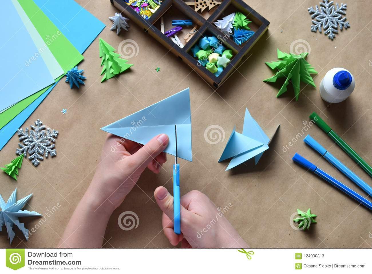 Making Origami 3d Xmas Tree With Paper For Decoration Or