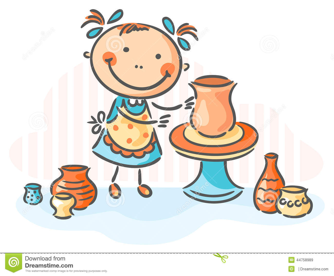 Making Pottery As A Creative Activity Stock Vector - Image: 44758989