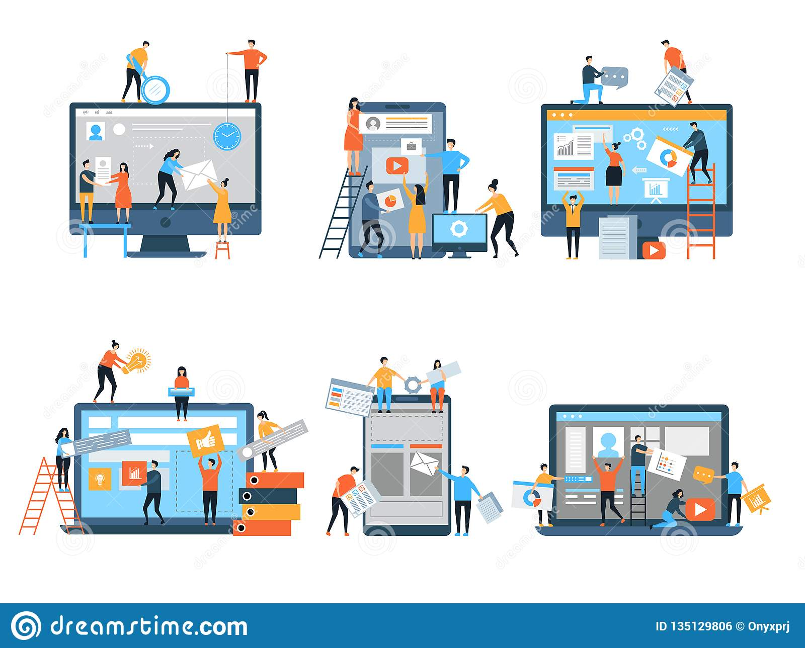 Making site. Web pages under construction seo optimization marketing simple people group business team vector stylized