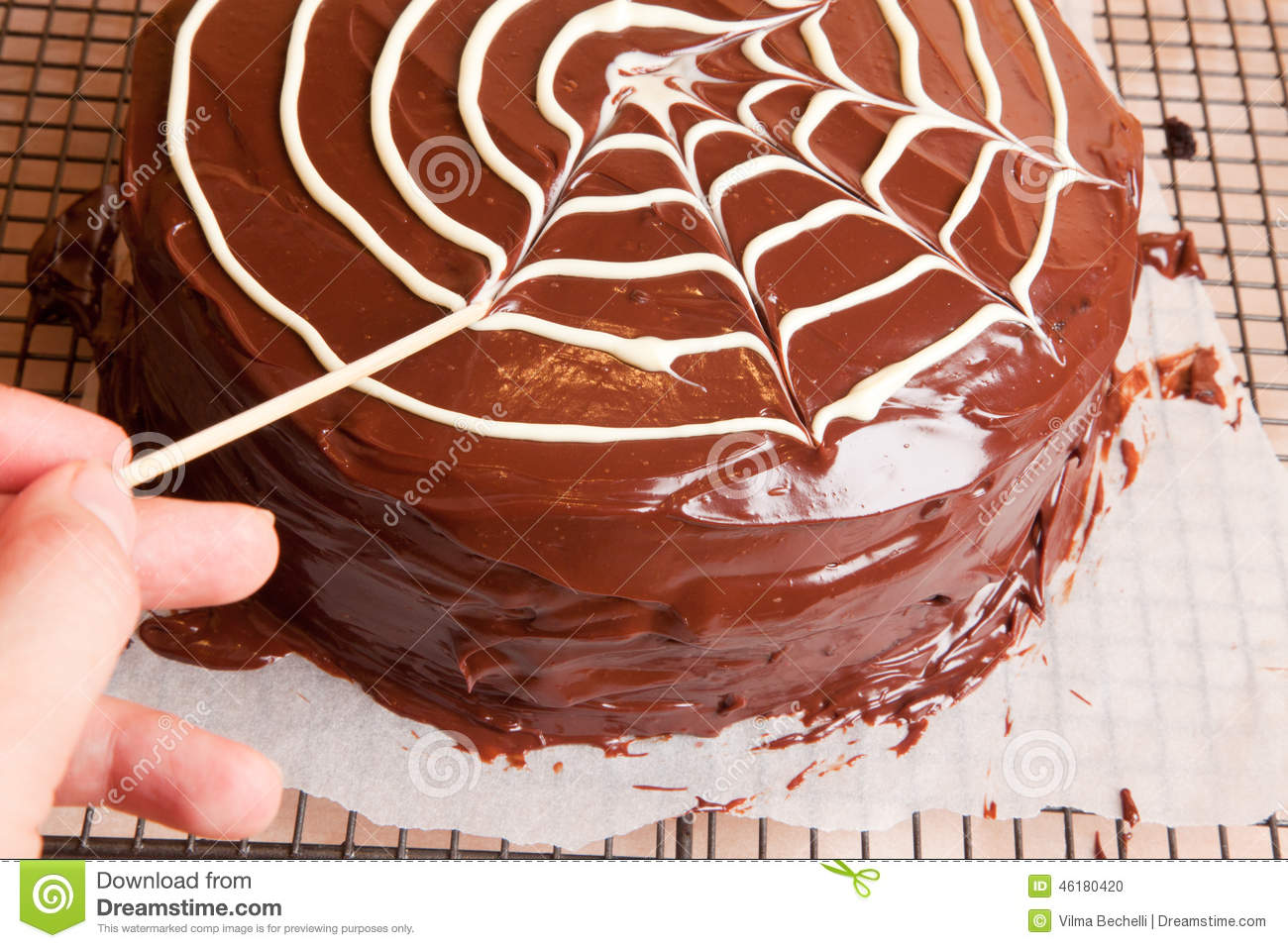 Making Spiders Web On The Chocolate Cake Stock Photo Image Of