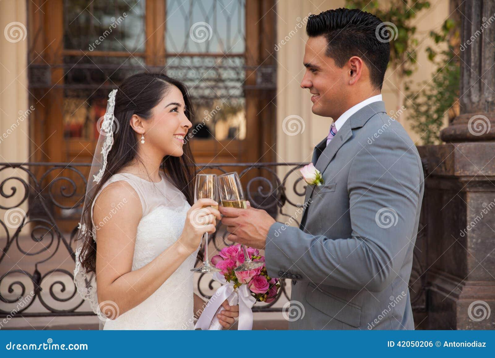 Making A Toast On Their Wedding Stock Photo
