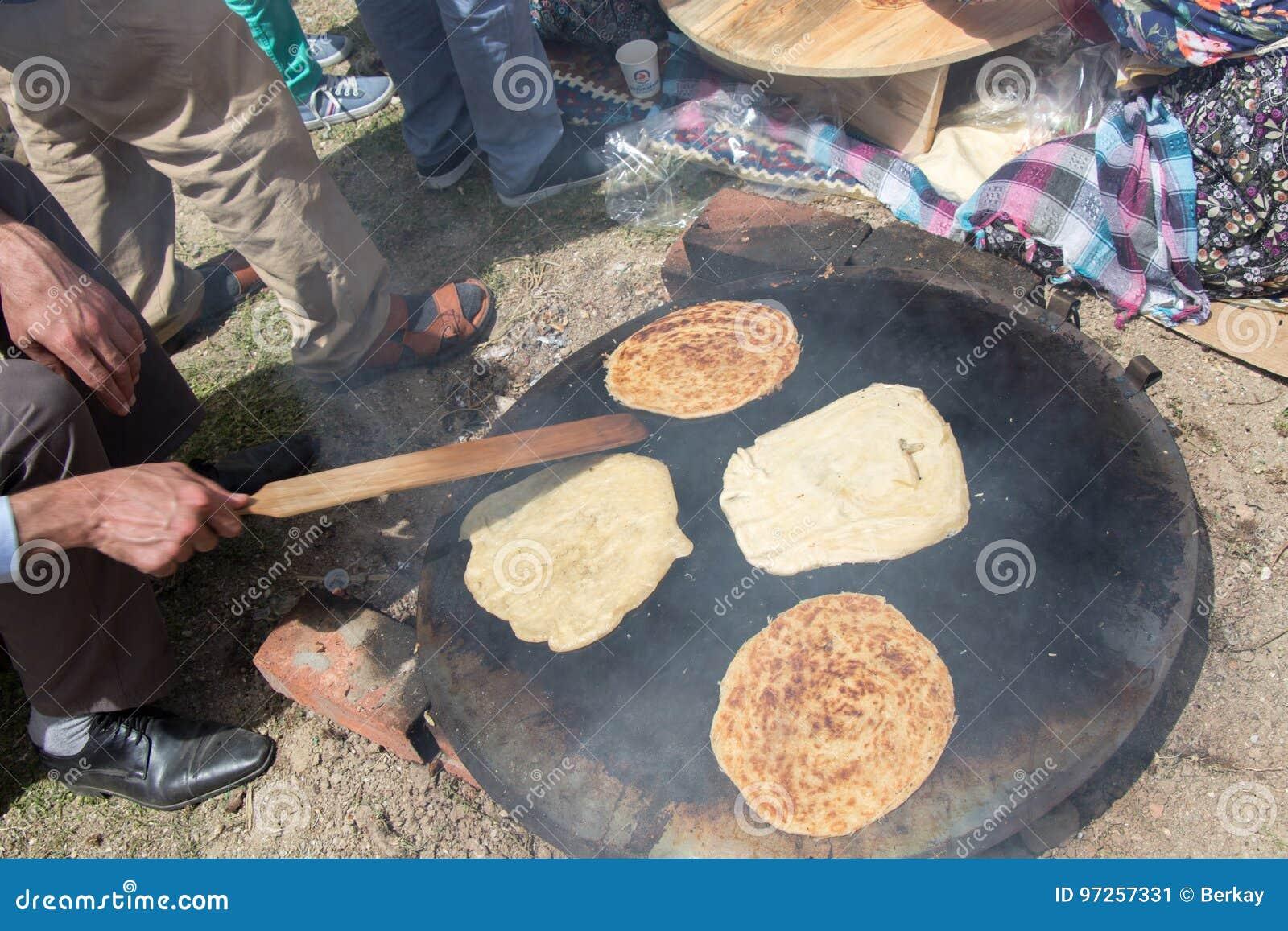 Making of traditional turkish gozleme pancake