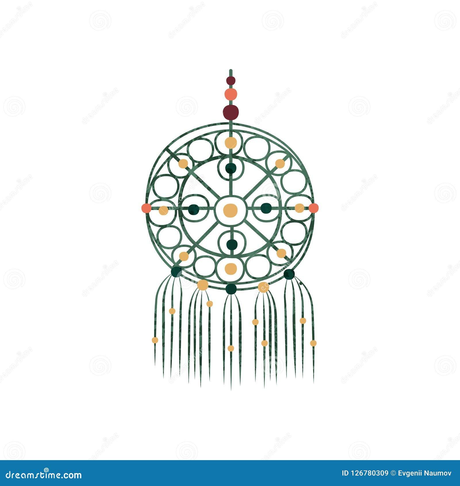 Makrama z kolorowymi koralikami Wymarzony łapacz robić bawełniany sznur jednostka ręcznie Ścienny wystroju element Płaski wektor  Royalty Ilustracja