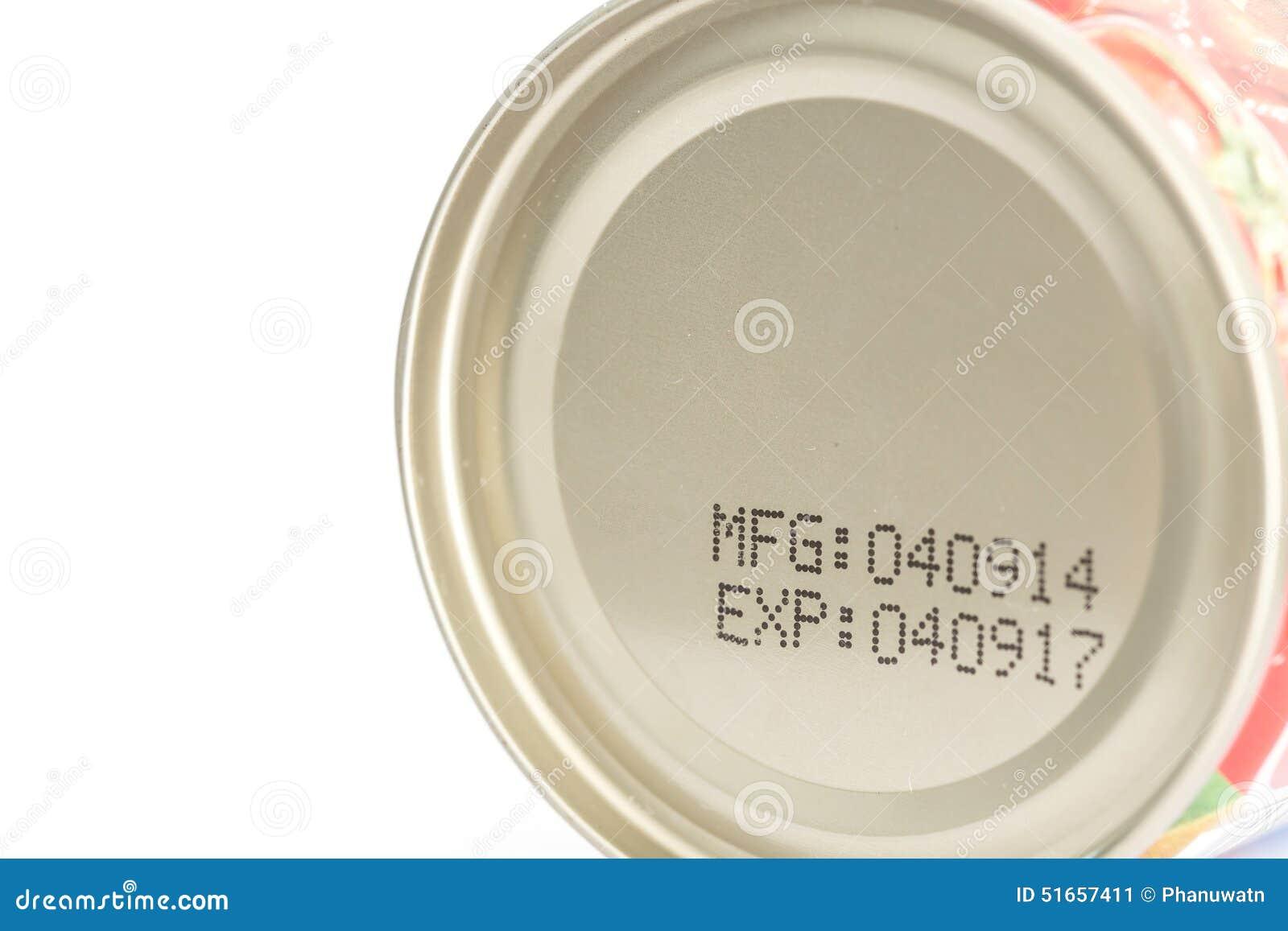 Makro- data ważności na konserwować jedzeniu