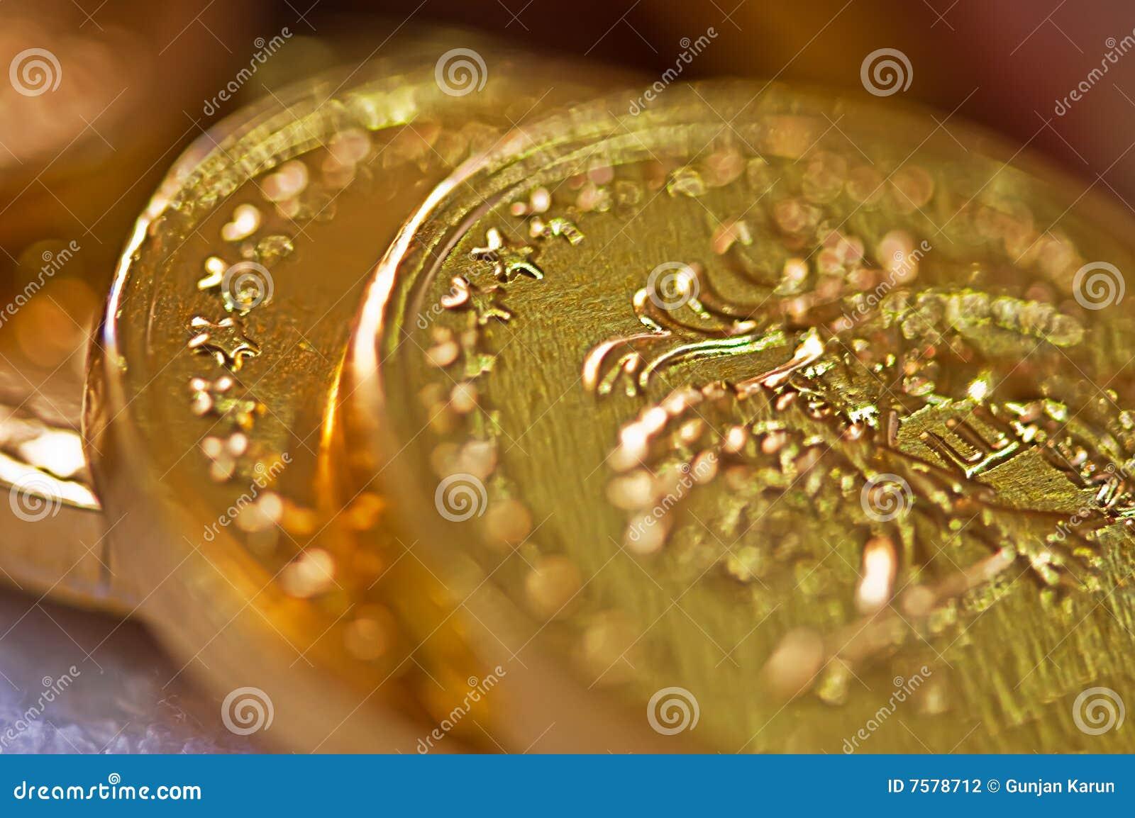 Makro der Goldmünzen
