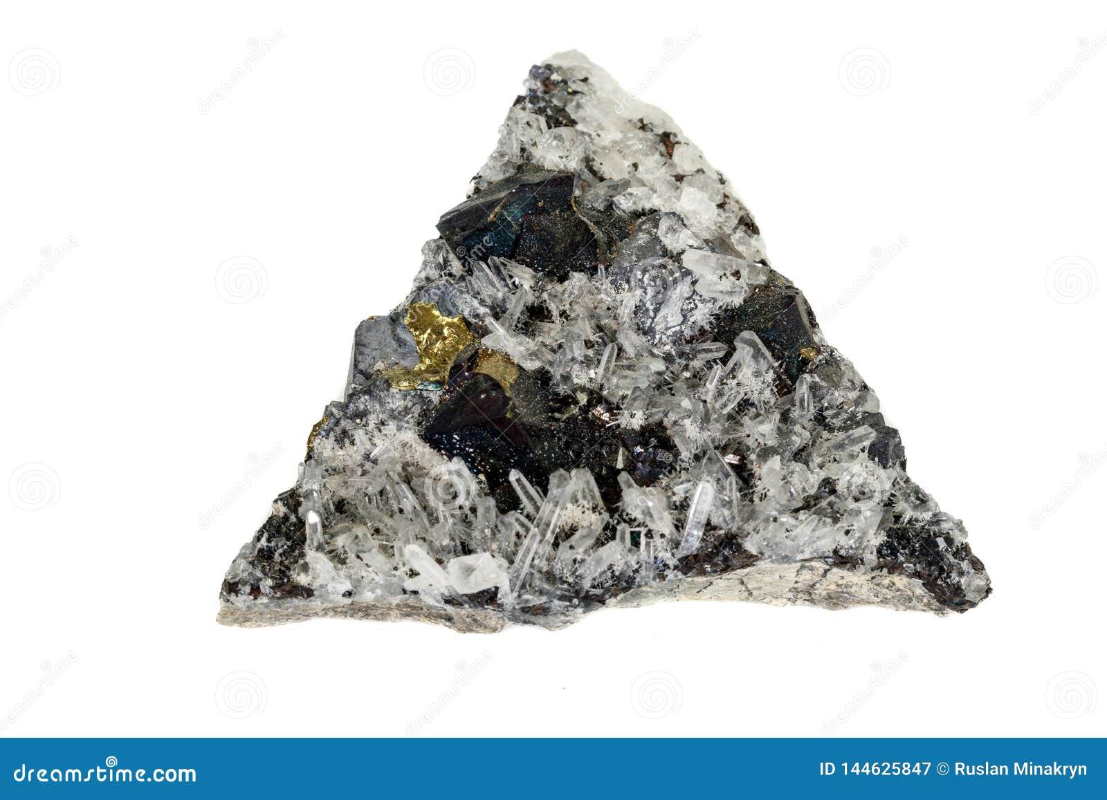 Makro- kamienny kopalny Pyrrhotite, kwarc, Sphalerite, kalcyt, galena na białym tle