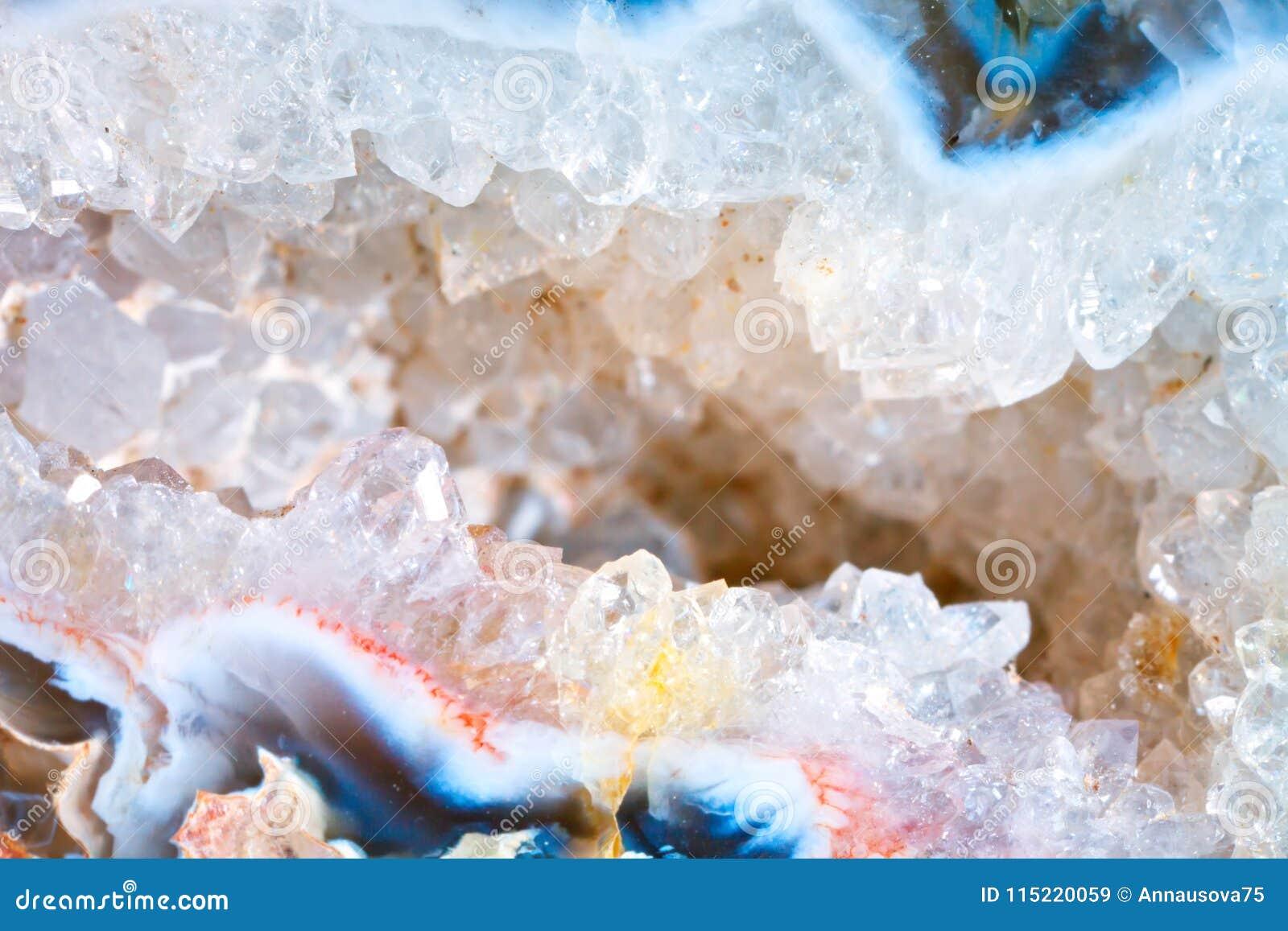 Makro- strzelanina naturalny gemstone Tekstura kopalny geoda chalcedon abstrakcyjny tło
