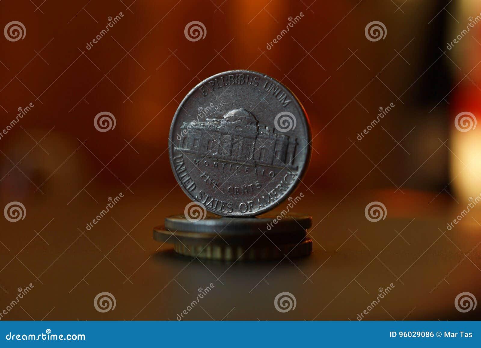 Makro- szczegół Amerykański x28 & moneta; pięć centów Amerykański dolar, USD& x29;