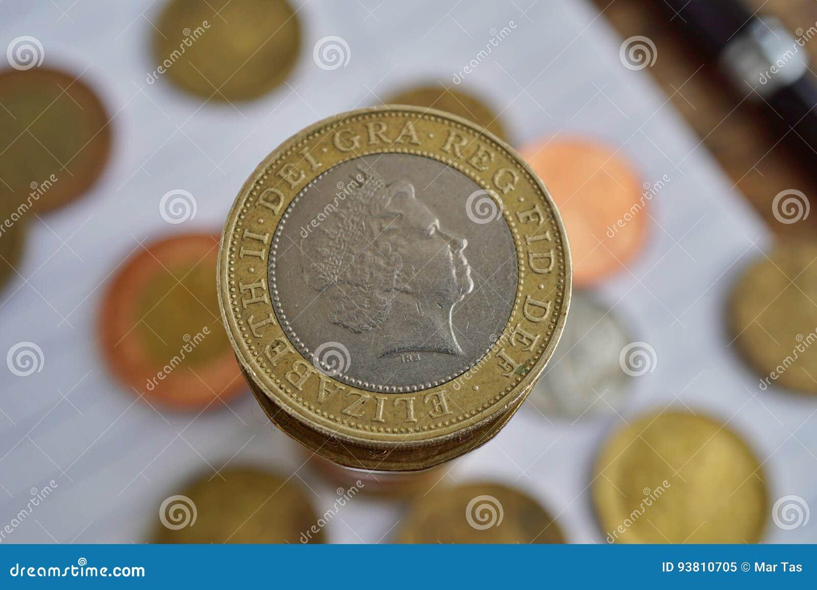 Makrodetail Einer Silbernen Und Goldenen Münze In Einem Wert Von