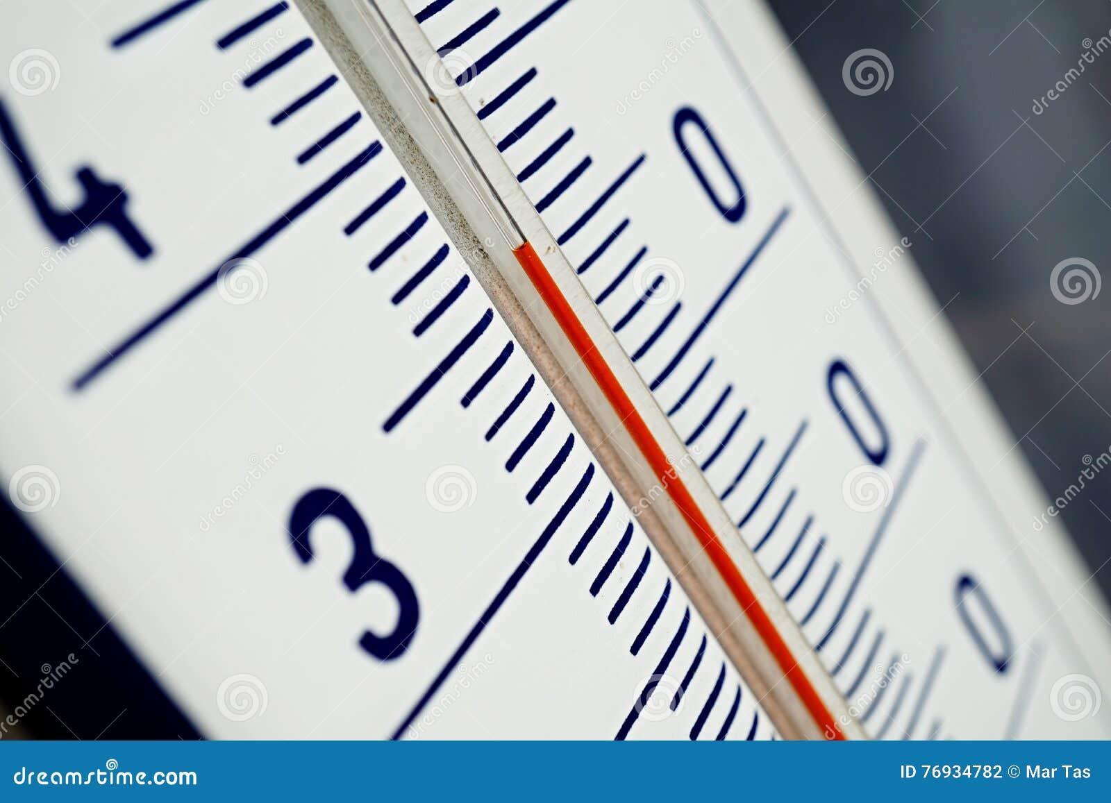 Makrodetalj av och gammal dammig utomhus- termometer i den retro designen  som mäter hög temperatur faff45ba35369