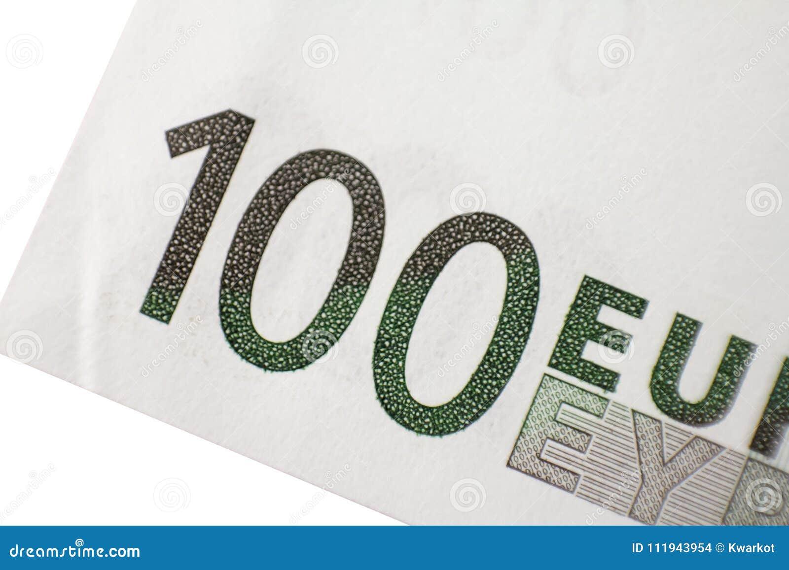 Makroschussteil hundert Eurobanknote auf einem weißen Hintergrund