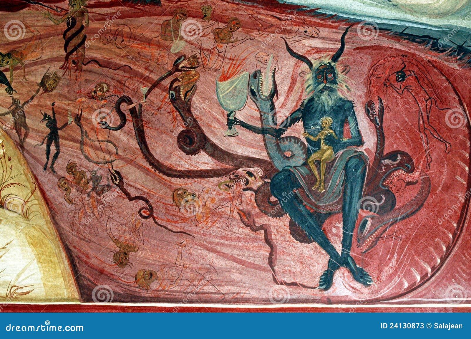 Mal et enfer sur une peinture murale roumaine photos stock for Types de peintures murales