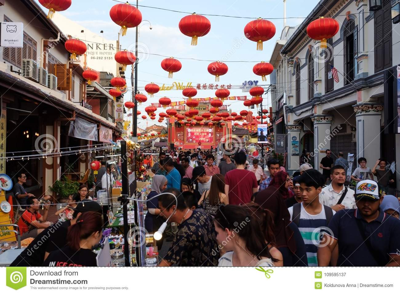 MALACCA, MALAYSIA - FEBRUARY 03, 2018 : The Jonker night market is opening. many street shops and crowd of people