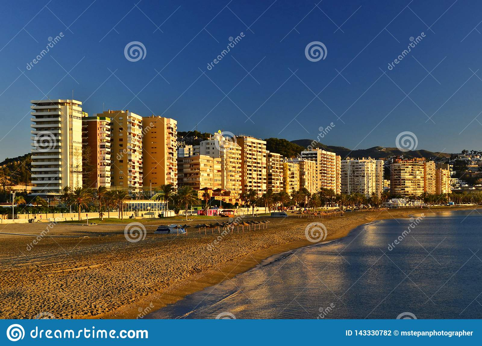 Malaga Beach And Hotels Sunny Morning In Andalusia Spain Editorial