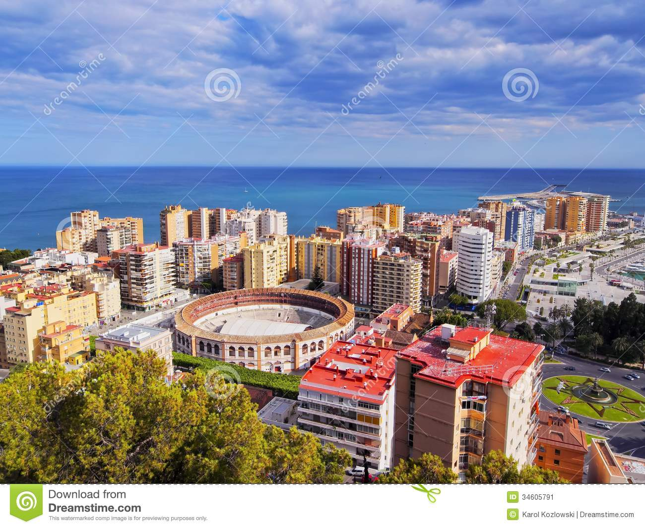 malaga cityscape spain stock image image of arena landmark 34605791. Black Bedroom Furniture Sets. Home Design Ideas