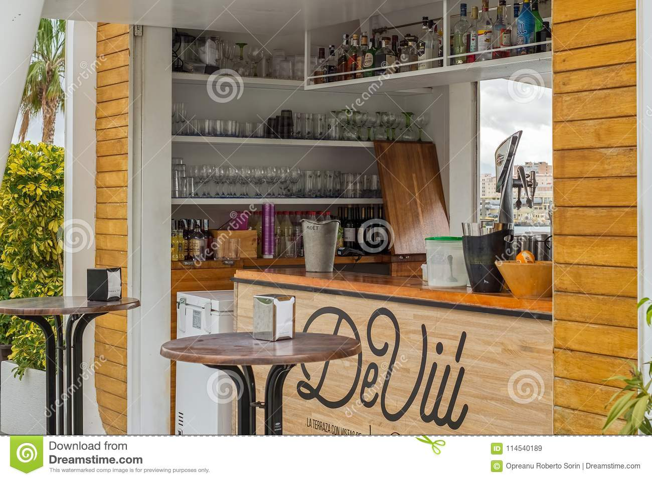 Classic Bar Counter With Bottles And Glasses Editorial Stock Image ...