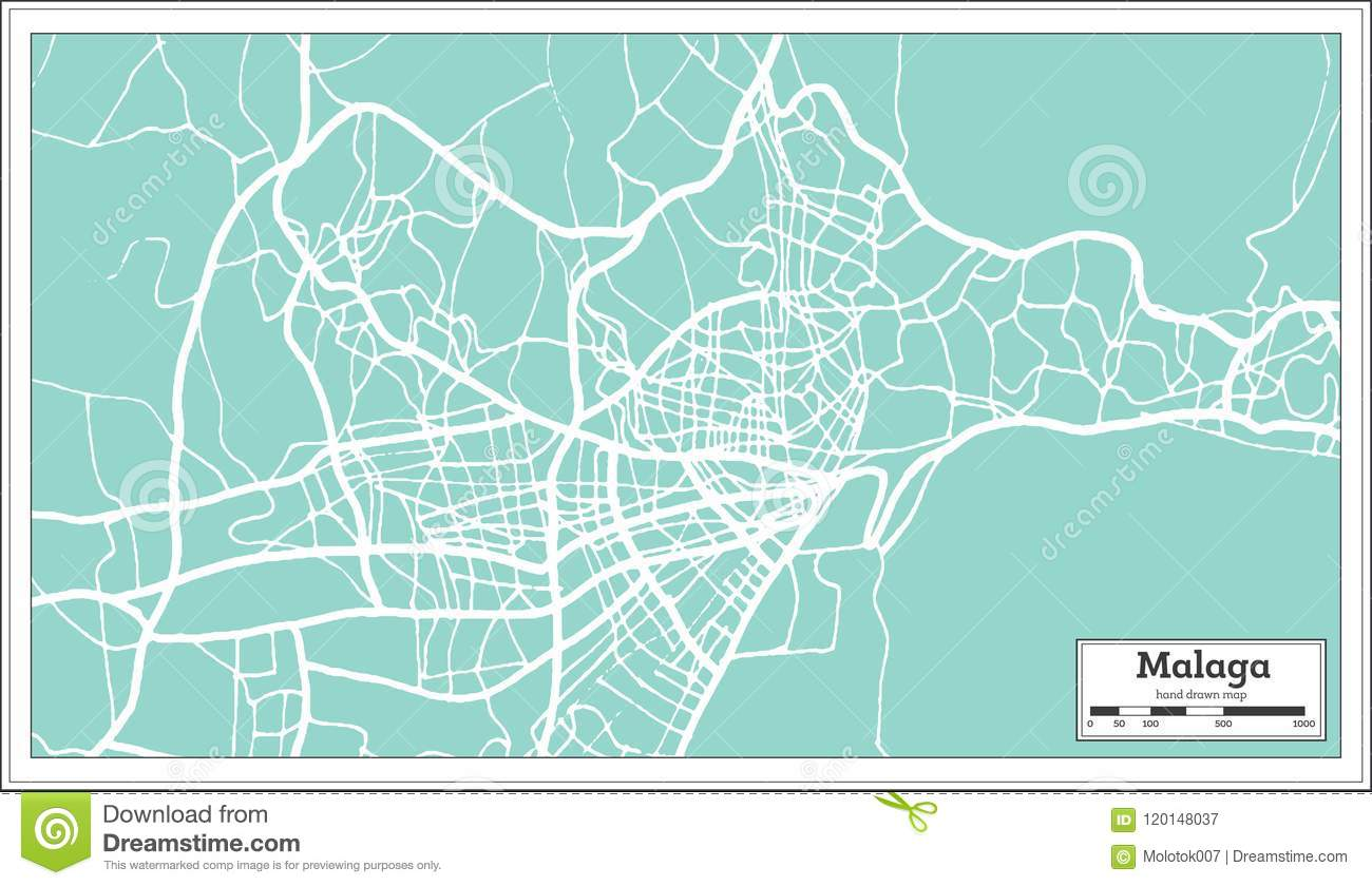 Malaga Spain City Map In Retro Style Outline Map Stock Vector