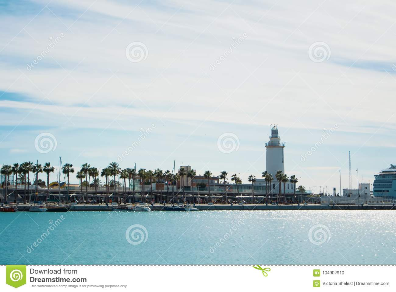MALAGA, SPAIN - FEBRUARY 7, 2017: A landscape with La Farola lig