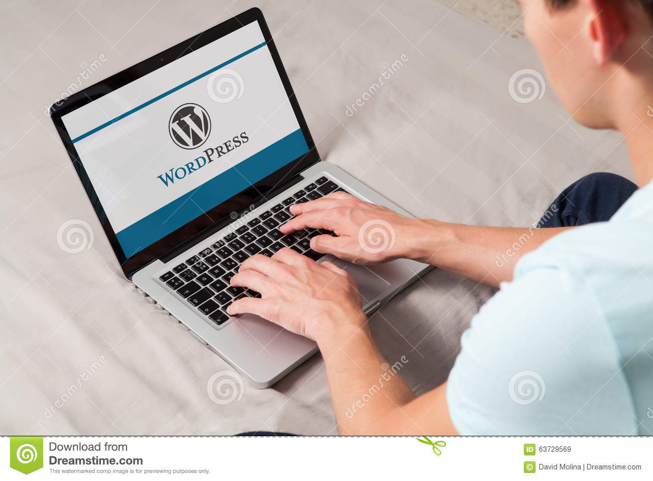 MALAGA, SPAIN - NOVEMBER 10, 2015: Wordpress brand logo on computer screen. Man typing on the keyboard.