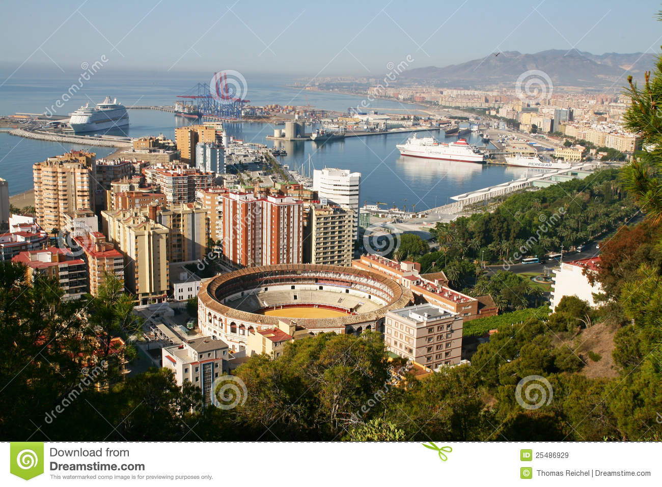 malaga spain panoramic view of the city stock image image of holidays city 25486929. Black Bedroom Furniture Sets. Home Design Ideas