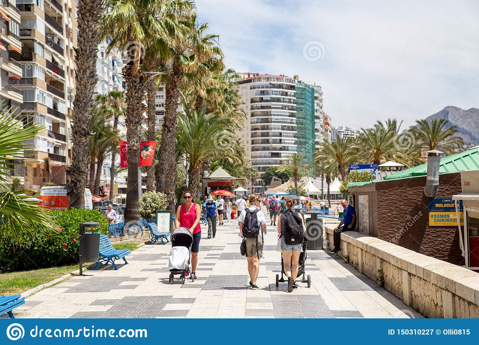 Malagueta Beach Promenade in Malaga, Spain