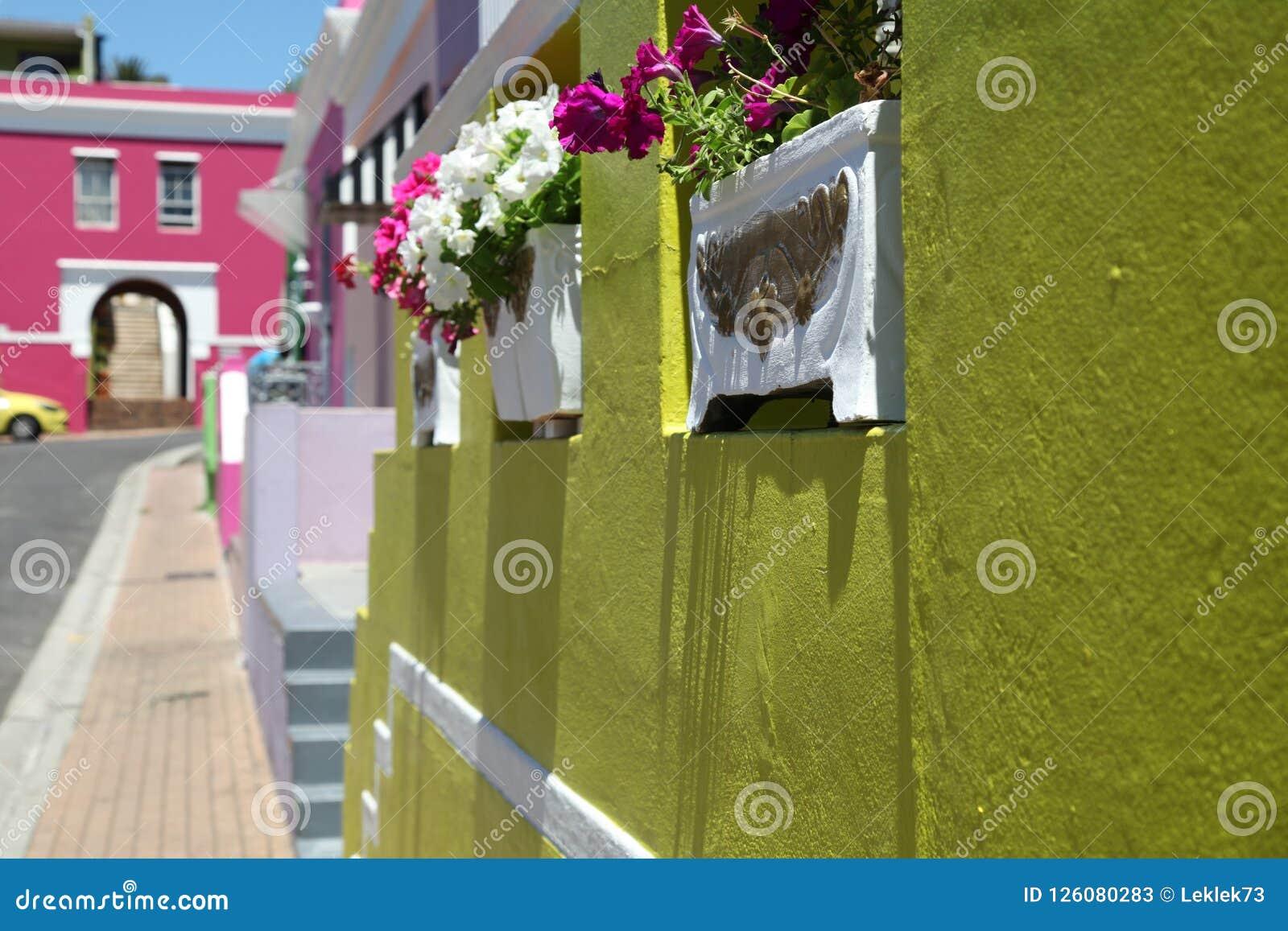 Malajiska fjärdedel, Bo-Kaap, Cape Town, Sydafrika Historiskt område av ljust målade hus i stadsmitten