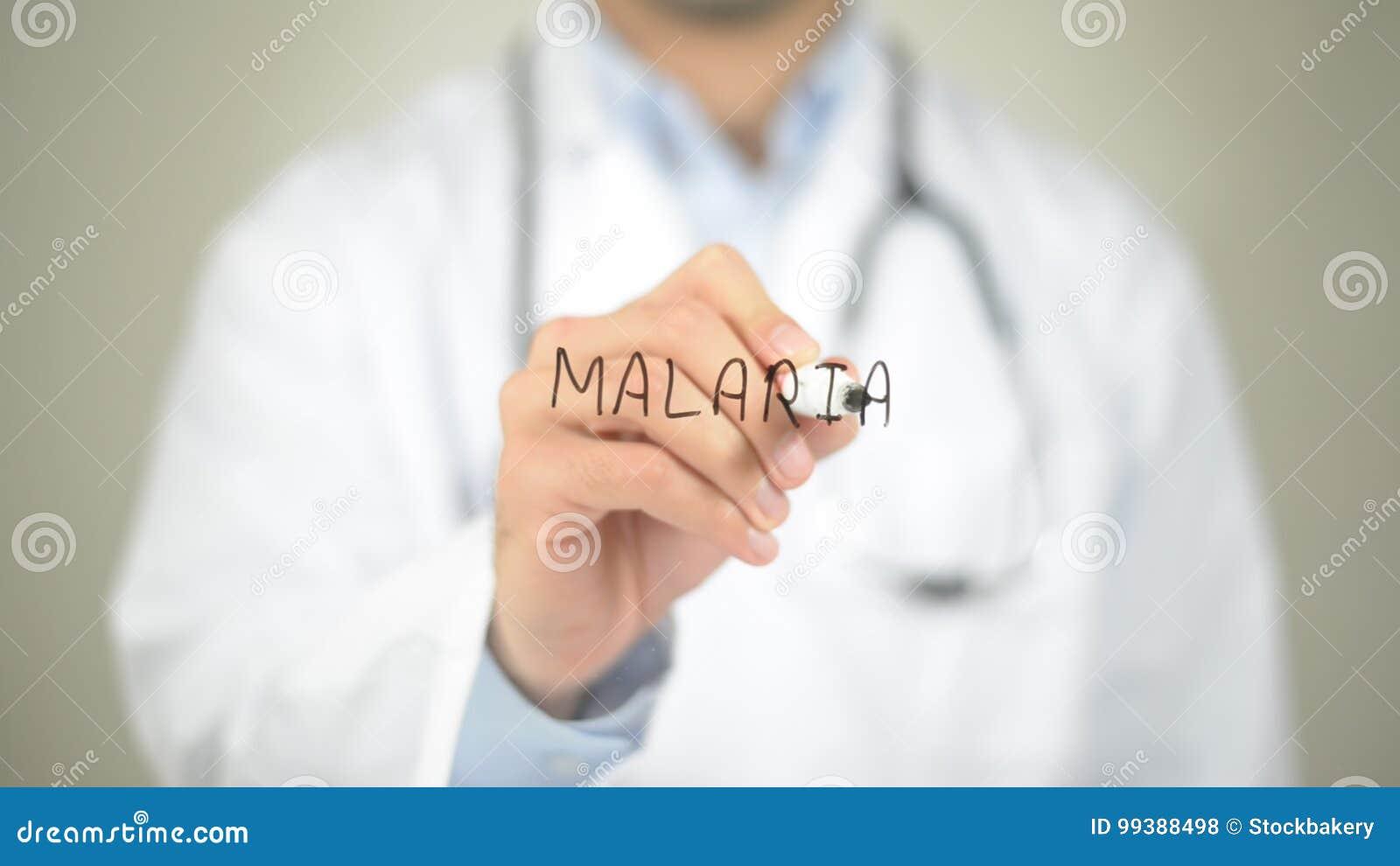 Malaria, Arts die op het transparante scherm schrijven