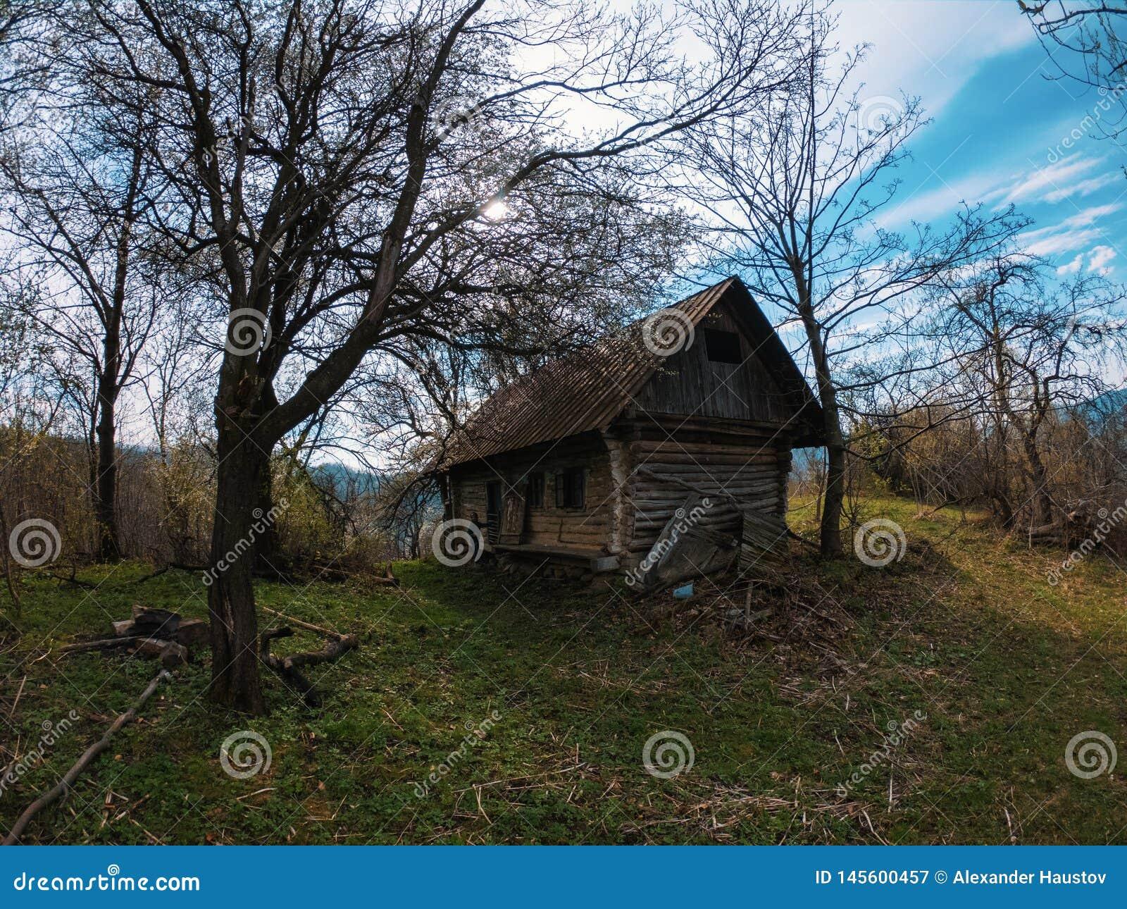 Malarski krajobrazowy stary obdrapany drewniany ma?y dom