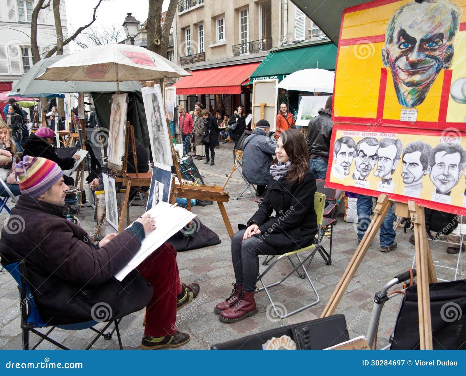 Malarzi na miejscu Du Tertre Paryż