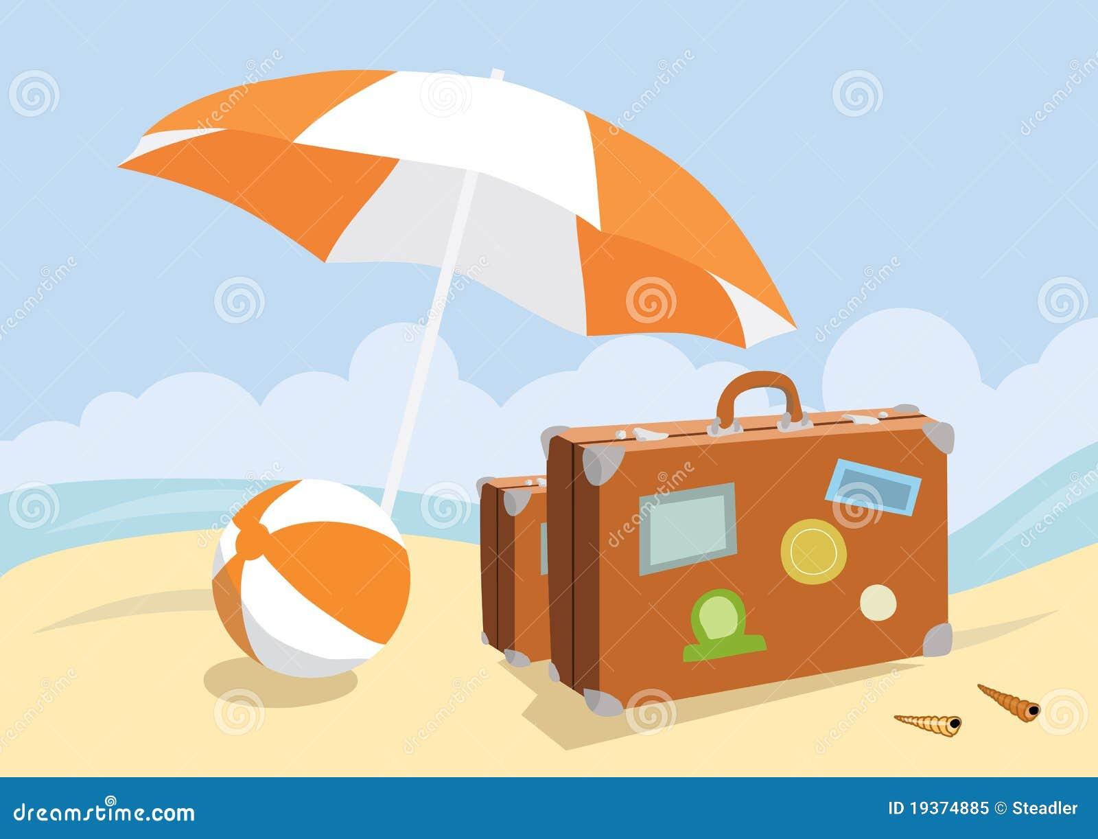 Malas de viagem em uma praia