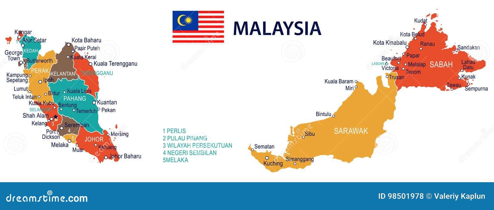 Malasia Mapa Y Bandera Ejemplo Stock De Ilustracion