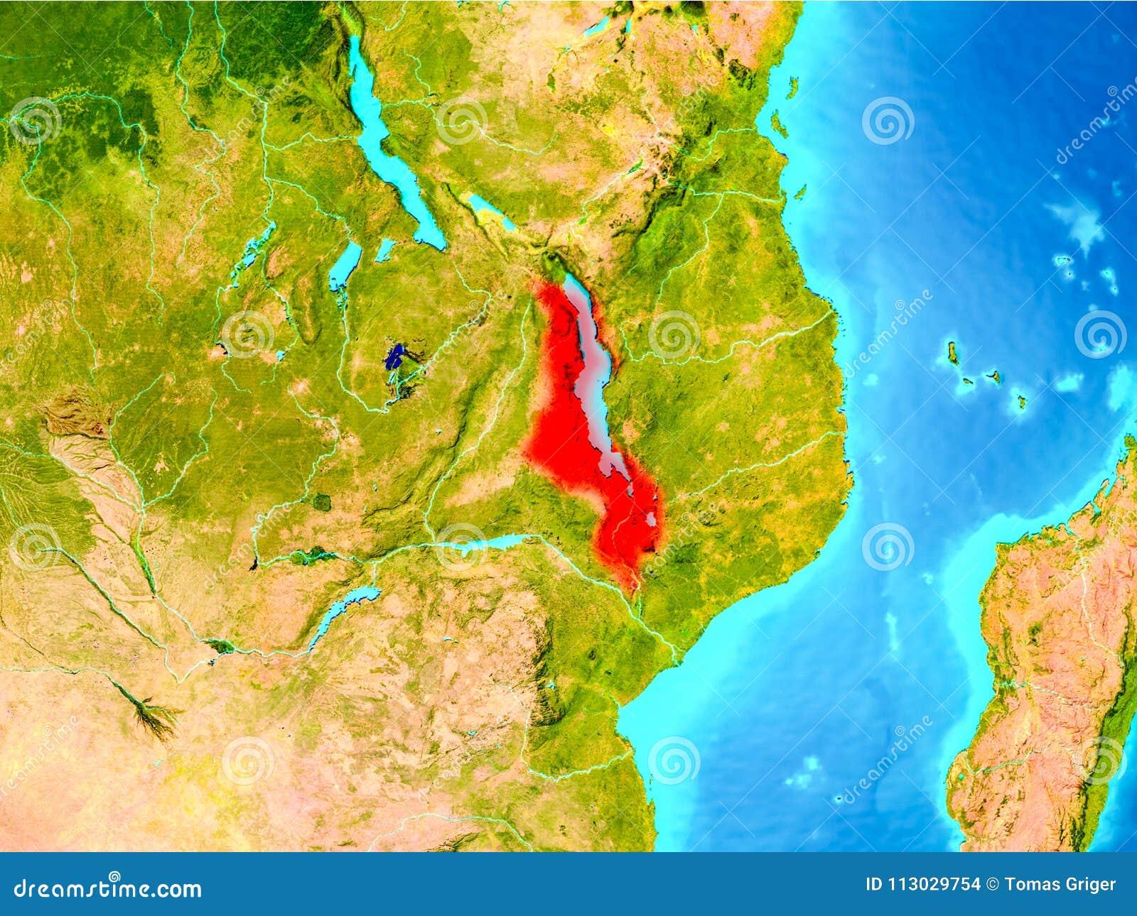 Malawi en rojo en la tierra